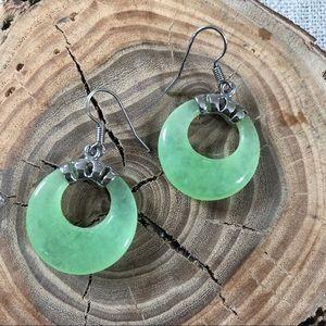 Seafoam Green Stone Dangle Earrings